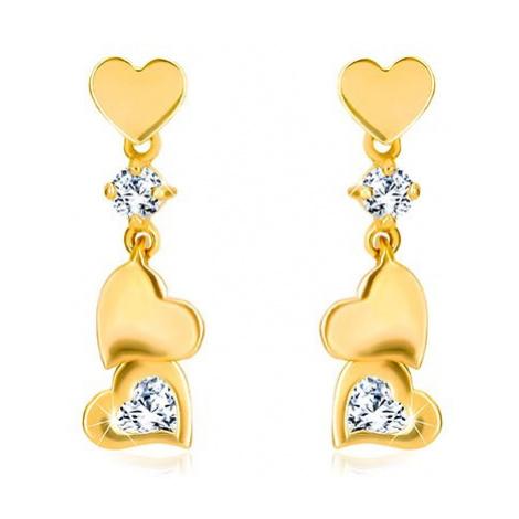 Diamantové náušnice zo zlata 585 - drobné symetrické srdiečko s príveskom