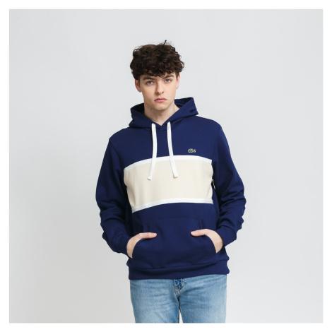 LACOSTE Men's Piqué Panel Bimaterial Hooded Sweatshirt navy / krémová