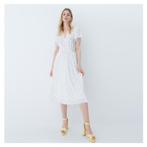 Mohito - Bodkované šaty - Biela
