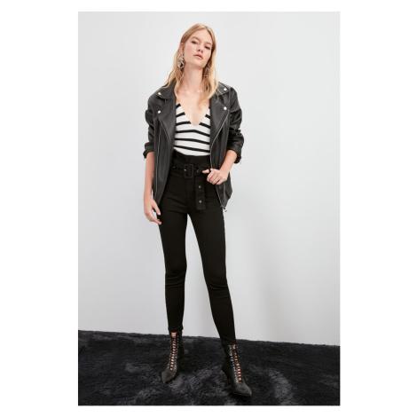 Trendyol Black Belted Super High Waist Jegging Jeans Black