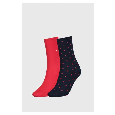 2 PACK červených dámskych ponožiek Tommy Hilfiger Dot červeno-modrá