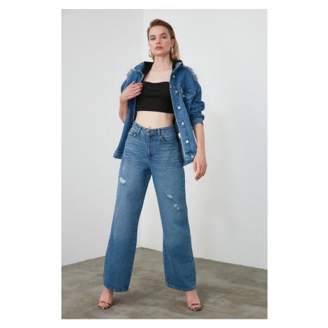 Trendyol Blue Ripped Detailed High Waist Wide Leg Jeans Navy