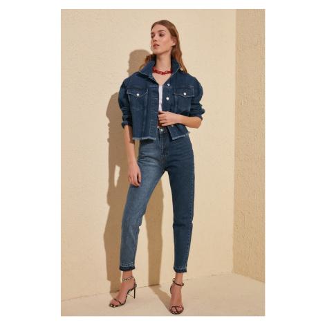 Trendyol High Waist Mom Jeans With Navy Blue Block Legs Navy