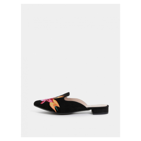 Black slippers in suede finish with OJJU Lyon embroidery