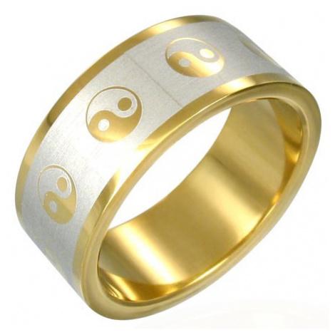 Prsteň Yin-Yang zlatej farby - Veľkosť: 72 mm