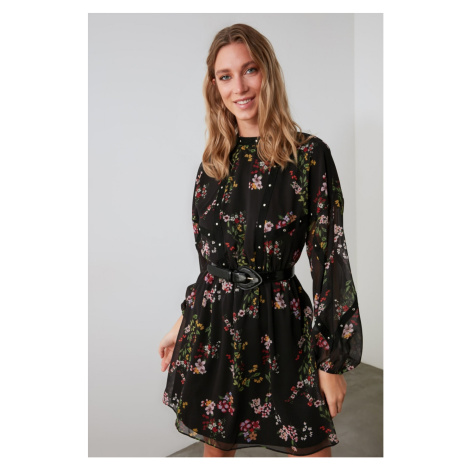Trendyol Black Floral Flywheel Dress