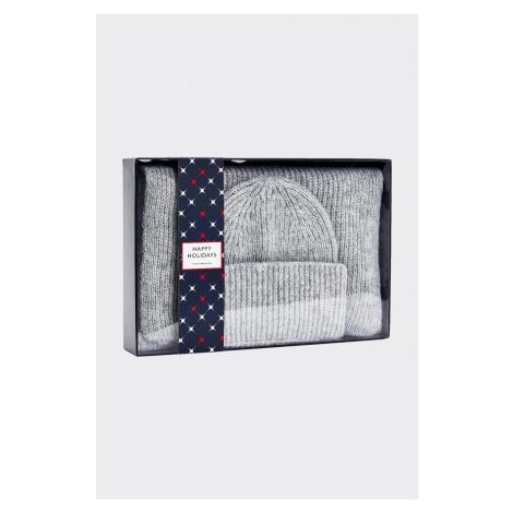 Darčekové balenie Tommy Hilfiger vlněná čiapka + šál - sivá Veľkosť: OS