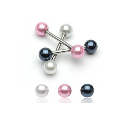 Oceľový piercing do jazyka s farebnými perleťovými guličkami - Farba piercing: Ružová