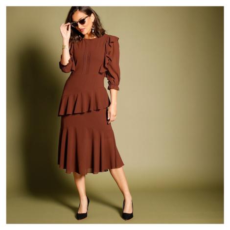 Blancheporte Volánové asymetrické šaty s 3/4 rukávmi bordó