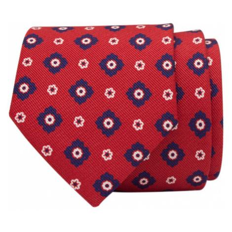 John & Paul Červená hodvábna kravata s modrými a bielymi kvetmi John & Paul
