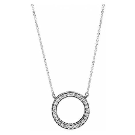 Pandora Strieborný náhrdelník s krištáľovým príveskom 590514CZ-45