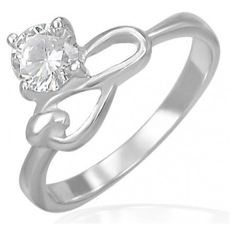 Oceľový zásnubný prsteň - číry zirkón a symbol nekonečna - Veľkosť: 57 mm