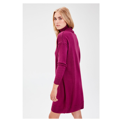 Trendyol Black Throat Mini Knitwear Dress Purple