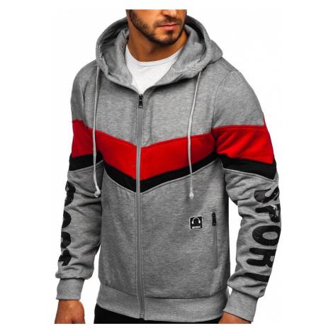 Šedá pánska mikina na zips s kapucňou so slúchadlami Bolf81053 RED FIREBALL