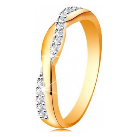 Lesklý prsteň zo 14K zlata - dve prepletené vlnky - hladká a zirkónová - Veľkosť: 60 mm