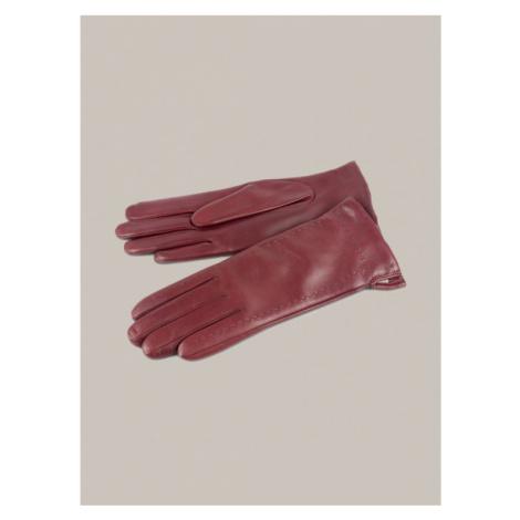 Dámské bordó kožené rukavice KARA
