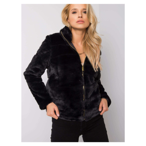 Čierna dámska kožušinová bunda