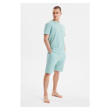 Trendyol Mint Waffle Knitted Pajamas Set