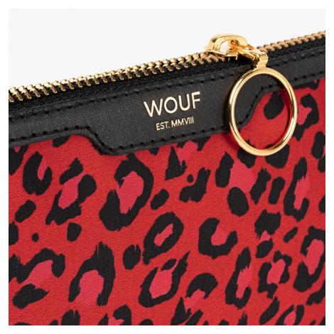 Saténová mini listová kabelka Red Leopard Pocket Clutch WOUF