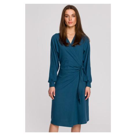 Tyrkysové zavinovacie šaty S267