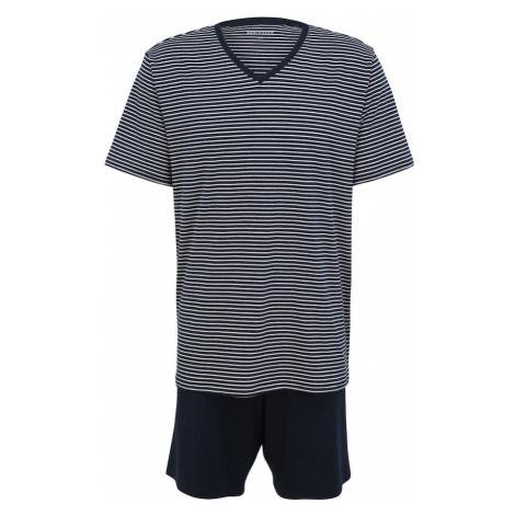 SCHIESSER Krátke pyžamo  námornícka modrá / biela
