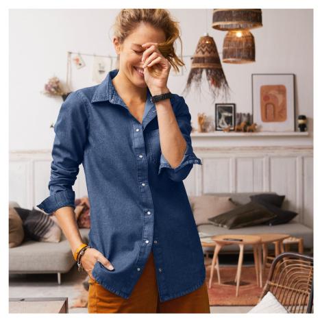 Blancheporte Dlhá džínsová košeľa denim