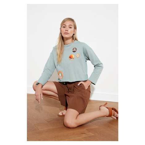 Trendyol Mint Patch Detailed Knitted Sweatshirt