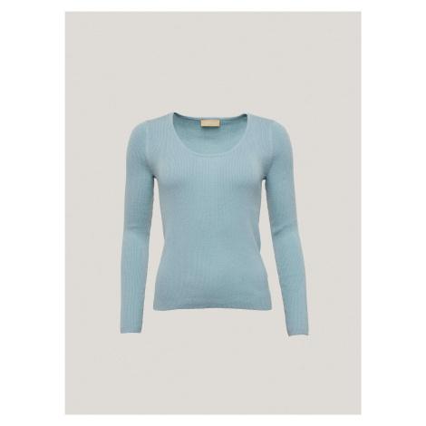 Dámsky bavlnený sveter s rebrovaním Pietro Filipi modrá