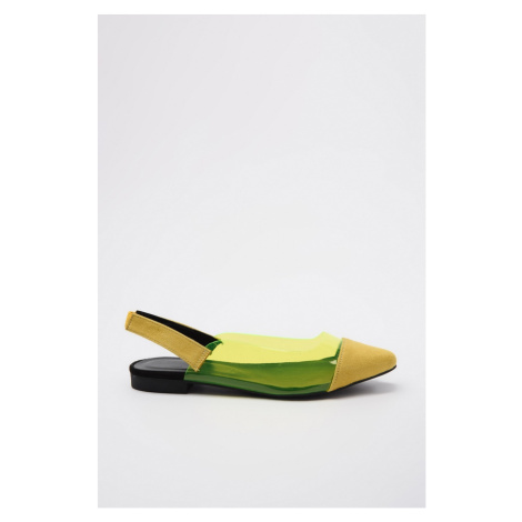 Trendyol Yellow Transparent and Suede Detailed Women's Babet