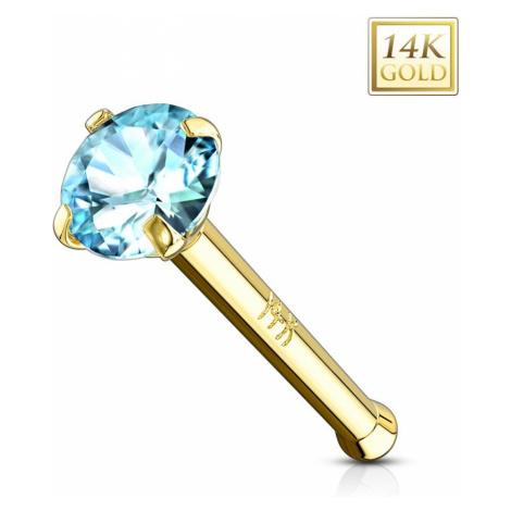 Zlatý piercing do nosa 585 - rovný tvar, svetlomodrý zirkónik, žlté zlato, 2 mm