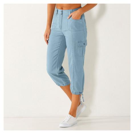Blancheporte 3/4 denimové nohavice s úpletový pásom zapratá modrá