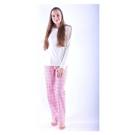 Dámske pyžamo Erika 3 ružové s káro vzorom Nelly