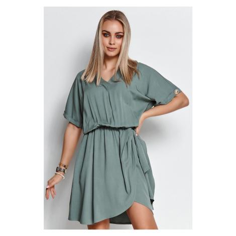 Zelené šaty s krátkym rukávom M647 Makadamia