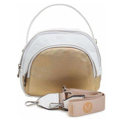 Ladies' white and gold handbag with a handle