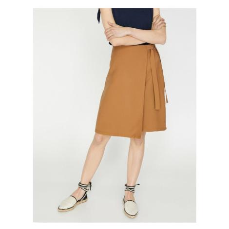 Koton Women Brown High Waist Midi Tie Waist Skirt