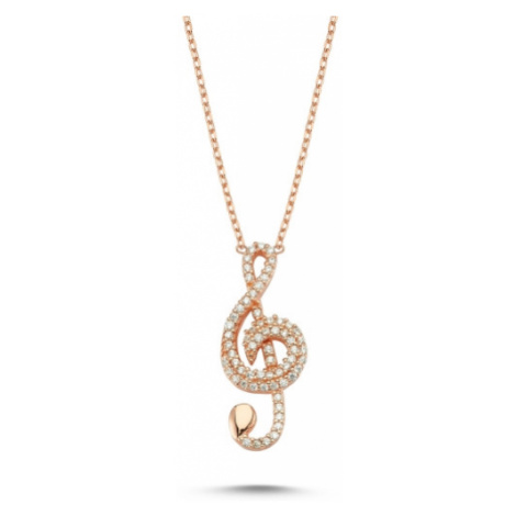 OLIVIE Strieborný náhrdelník HÚSĽOVÝ KĽÚČ ROSE 4298