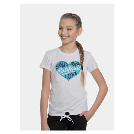 Biele dievčenské tričko s potlačou SAM 73