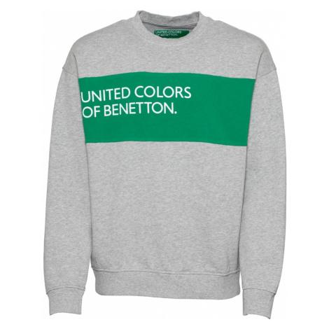 UNITED COLORS OF BENETTON Mikina  sivá / trávovo zelená / biela