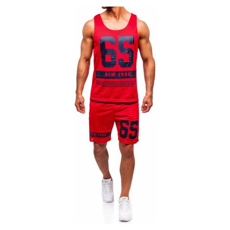Červený pánsky komplet: tričko + kraťasy  BOLF 100777 J.STYLE