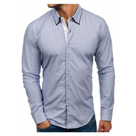Blankytná pánska elegantná košeľa s dlhými rukávmi BOLF 9658 GLO-STORY