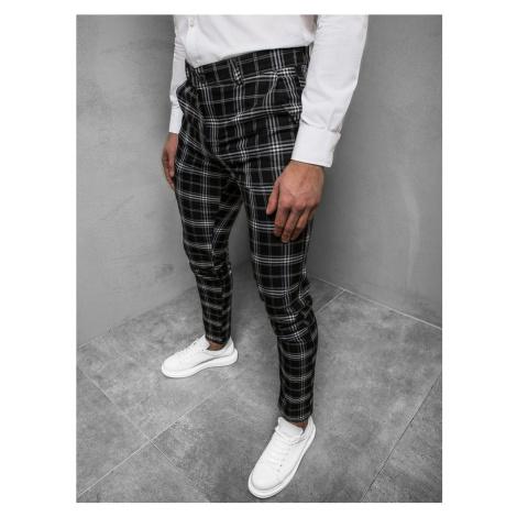 Trendy kárované pánske čierne nohavice DJ/5507