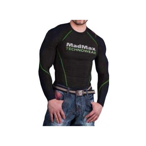 Madmax Kompresné tričko s dlhým rukávom MSW902 čiernozelené