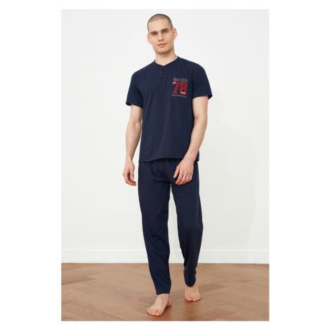 Trendyol Navy Blue Knitted Pyjama Set