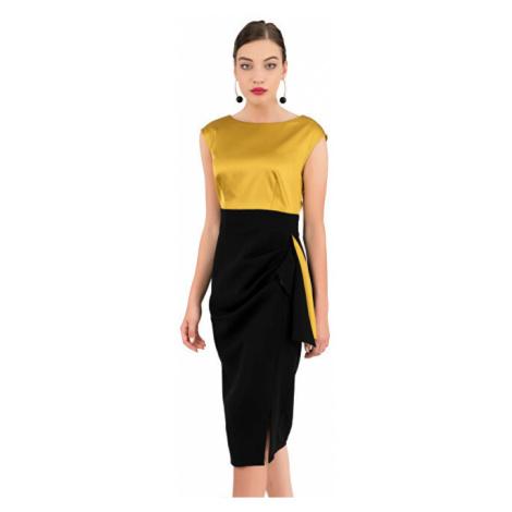 Closet London Dámske šaty Closet Draped Skirt Pencil Dress Mustard