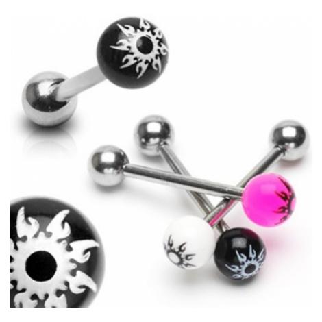 Piercing do jazyka z ocele - farebná gulička, hviezda - Farba piercing: Ružová
