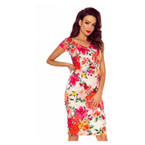 Svetloružové kvetované šaty M56466 Bergamo