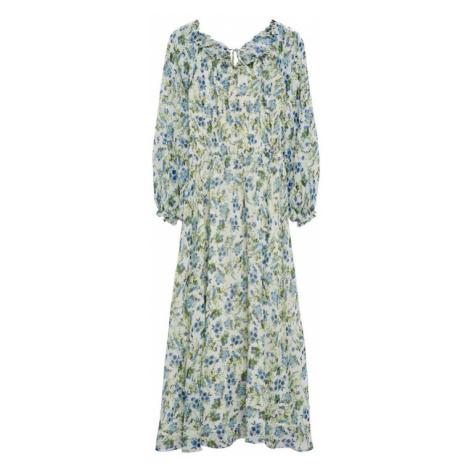 MANGO Šaty 'Ocean'  šedobiela / zelená / modrá