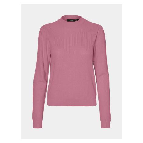 Ružový ľahký sveter so stojačikom VERO MODA Galex