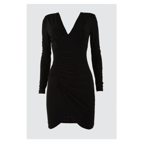 Trendyol Black Drape Detailed Dress