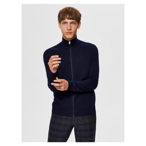 Tmavomodrý sveter na zips Selected Homme